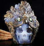 "Amazing Original 8.0"" Blue Chalcedony Carved Crystal Skull & Owl Sculpture, Flash Labradorite Eyes, Crystal Healing"