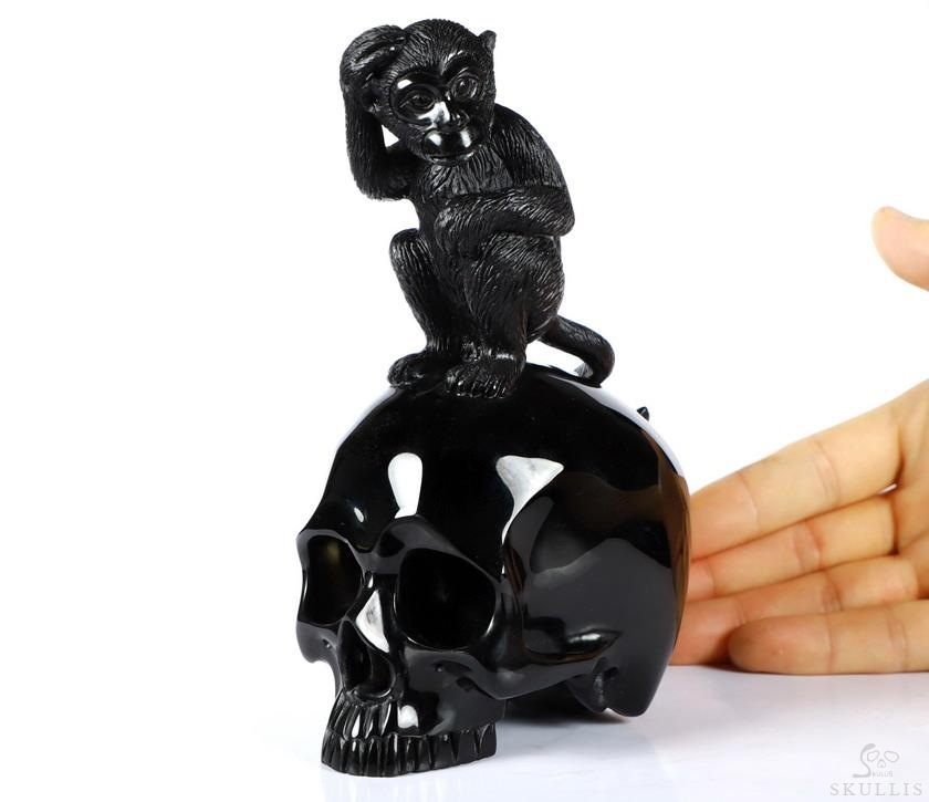 Black Obsidian Crystal Skull With Monkey Standing Sculpture