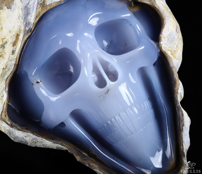 Blue Chalcedony Crystal Skull Sculpture