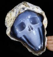"Amazing Huge 8.6"" Blue Chalcedony Carved Crystal Skull Sculpture, Crystal Healing"