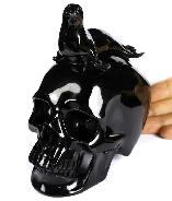 "5.6"" Black Obsidian Carved Crystal Skull With Seal Sculpture, Crystal Healing"