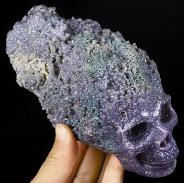 "GEMSTONE 6.3"" Purple Grape Agate Carved Crystal Skull Sculpture, Crystal Healing"