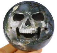 "Halloween Gift 3.1"" Green Moss Agate Carved Crystal Sphere Skull Sculpture, Crystal Healing"