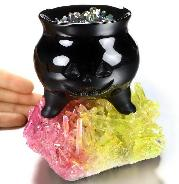Halloween Jack Black Obsidian Cauldron with Rainbow Titanium Quartz Druse Fire & Magic Potion Sculpture, Crystal Healing