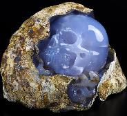 Amazing Gemstone 8.4 Blue Chalcedony Carved Crystal Skull With Snake Sculpture, Crystal Healing