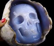 "Huge 7.0"" Blue Chalcedony Carved Crystal Skull Inside Sculpture, Crystal Healing"