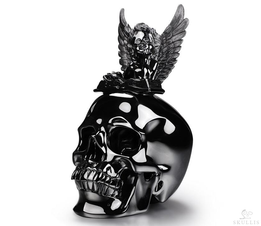 Black Obsidian Crystal Skull With Reading Angle Sculpture