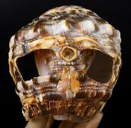"Huge 5.4"" Shell Carved Crystal Skull Sculpture, Crystal Healing"