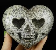 "3.5"" Chinese Painting Stone Carved Crystal Skull Heart Sculpture, Crystal Healing"