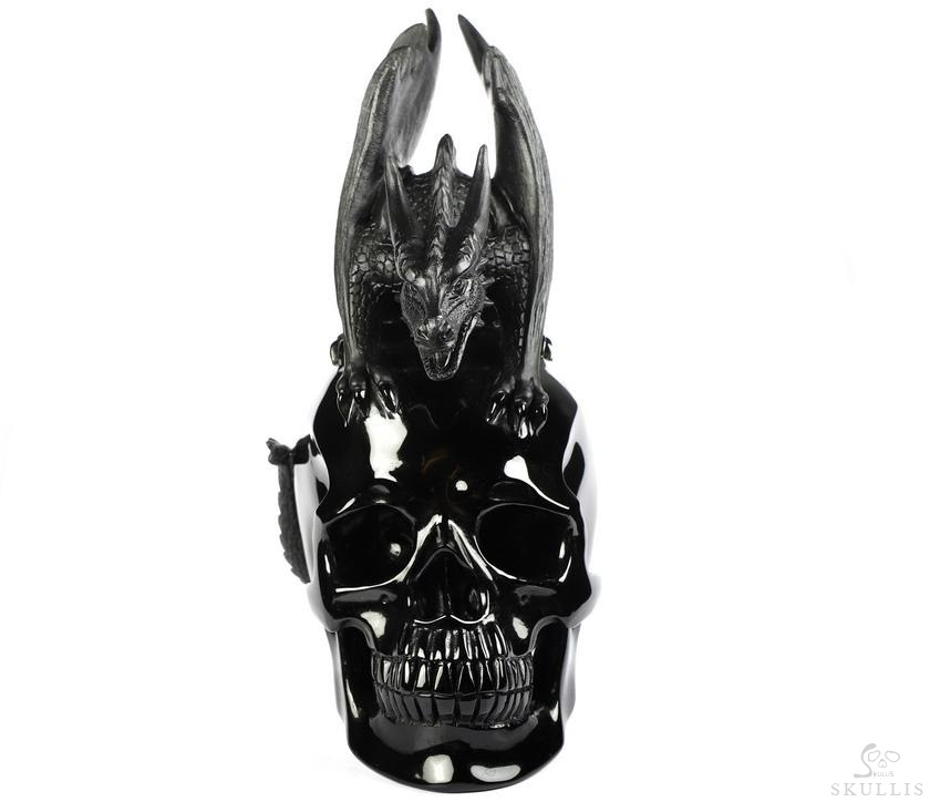Black Obsidian Crystal Skull WIth Western Dragon Sculpture
