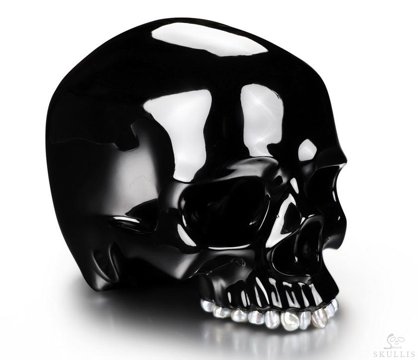 Black Obsidian Crystal Skull with Freshwater Pearl Teeth & Detachable Jaw Sculpture