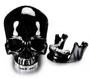 "Pearly Whites 8.0"" Black Obsidian Carved Crystal Skull with Freshwater Pearl Teeth & Detachable Jaw Sculpture, Crystal Healing"