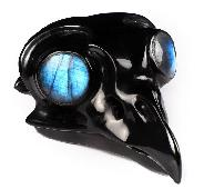 "3.1"" Black Obsidian Carved Crystal Owl Skull With Labradorite Eyes, Crystal Healing"