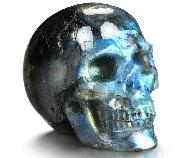 2.0'' Flash Labradorite Carved Crystal Skull, Realistic