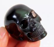 2.0'' Rainbow Obsidian Carved Crystal Skull, Realistic