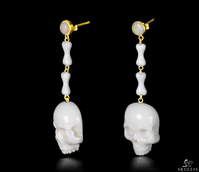 White Chalcedony Crystal Skull Earrings