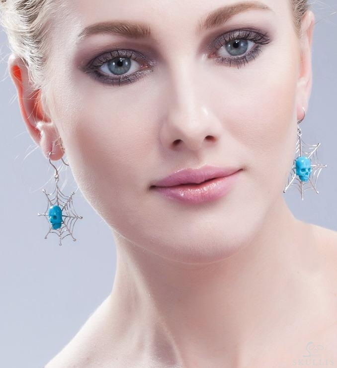 Turquoise Crystal Skull Earrings