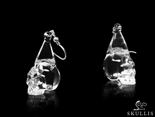 Clear Quartz Rock Crystal Crystal Skull Earring