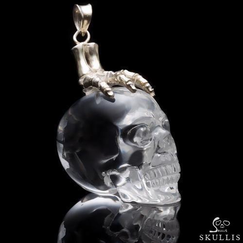 Vintage QUARTZ SKULL charm hand-carved rock crystal quartz skull pendant  Articulated clear  rock crystal crystal quartz skull charm