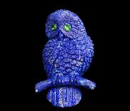 Gemstone Lapis Lazuli Carved Crystal Owl Brooch