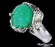 Gemstone Chrysoprase Carved Skull with sterling silver Bones Ring