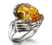 Clear Citrine Carved Skull Ring with Bones, Quartz, Gemstone