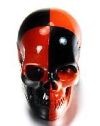 "Red and Black 2.0"" Red Jasper & Black Obsidian Carved Crystal Skull, Realistic"
