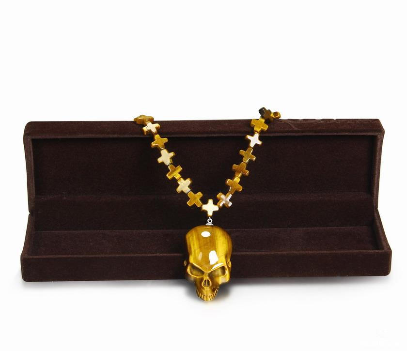Gold Tiger Eye Crystal Skull Pendant
