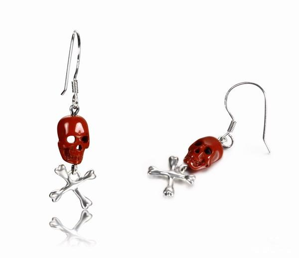 Red Jasper Crystal Skull Earrings