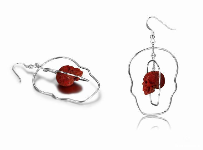 Red Coral Crystal Skull Earrings