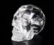 "Faceted 1.4"" Quartz Rock Crystal Carved Crystal Skull Pendant"