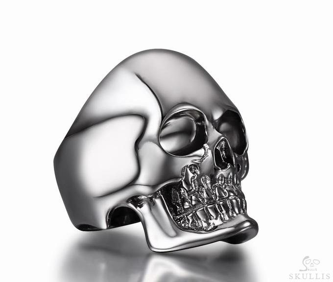 Black Rutanium & 925 Sterling Silver Skull Ring