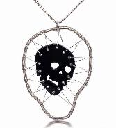Masterpiece, Black Onyx Carved Crystal Skull Pendant, with Silver 925