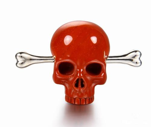 Red Jasper Crystal Skull Brooch