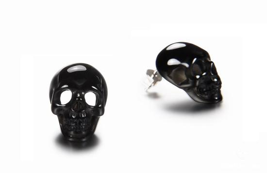 Black Onyx Crystal Skull Earrings