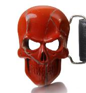 Red Jasper Carved Crystal Skull Belt with Sterling Silver