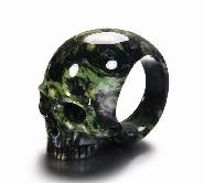 Kambaba Jasper Carved Crystal Skull Ring
