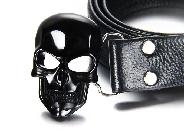 Black Obsidian Carved Crystal Skull Belt with Sterling Silver