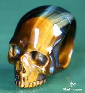 Gold Tiger' Eye Carved Crystal Skull Ring