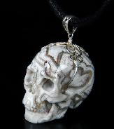 Crazy Lace Agate Carved Crystal Skull Pendant
