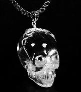 Transparent! Quartz Rock Crystal Carved Crystal Skull Pendant with Sterling Silver