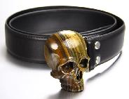 Tiger Iron Eye & 925 Sterling Silver Carved Crystal Skull Belt 925 Sterling Silver rhodium plated