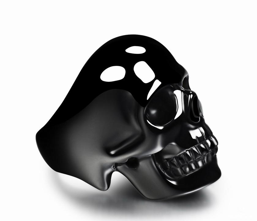 Black Onyx Crystal Skull Ring