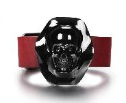 Black Obsidian & 925 Sterling Silver Carved Crystal Skull with Leather Bracelet & 925 Sterling Silver