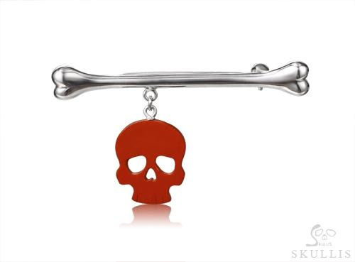Red Jasper & 925 Sterling Silver Crystal Skull Brooch