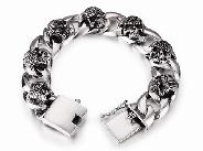Oxidized 925 Sterling Silver Skulls with Large Loops Chain Bracelet