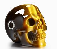 Gold Tiger Eye Carved Crystal Skull Pendant