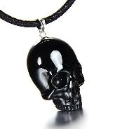 Black Obsidian Carved Skull Pendant with Sterling Silver