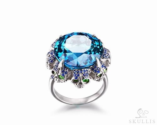 London Blue Topaz with Sapphire and Tsavorite 925 Sterling Silver Skulls Ring