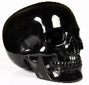 "HUGE 5.1"" Black Obsidian Carved Mitchell-Hedges Crystal Skull Replica, Skull of Doom"